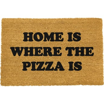 Wycieraczka z naturalnego włókna kokosowego Artsy Doormats Home Is Where the Pizza Is, 40x60 cm