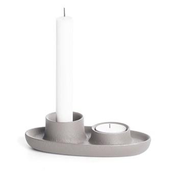 Jasnoszary świecznik EMKO Aye Aye Two Candles