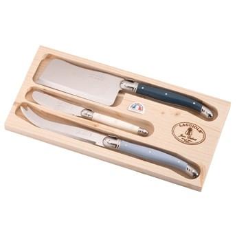Zestaw 2 noży i tasaka do sera ze stali nierdzewnej w drewnianym pojemniku Jean Dubost Atelier