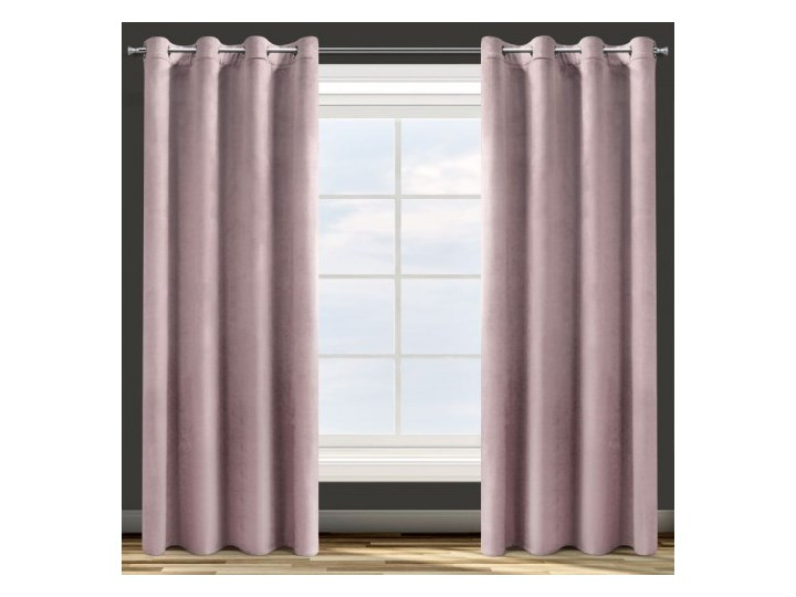 Zasłona Welwetowa 140x250cm - Pudrowy - Przelotki Poliester 140x250 cm Kolor Różowy Pomieszczenie Pokój nastolatka