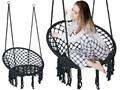 Krzesło fotel wiszący huśtawka TOGO CZARNE Metal Wiszące Styl Skandynawski Kolor Czarny