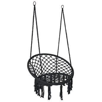 Krzesło fotel wiszący huśtawka TOGO CZARNE z poduszkami