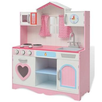 VidaXL Kuchnia zabawkowa 82x30x100 cm, drewno, różowo-biała