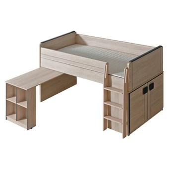 GM15 Łóżko piętrowe z biurkiem COMI dąb santana + popiel