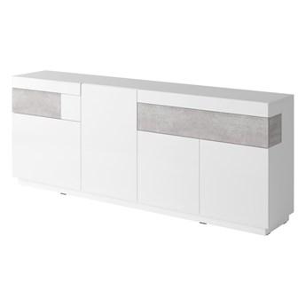 Komoda 4D SE25 SILKE Biały / Biały połysk - Colorado beton