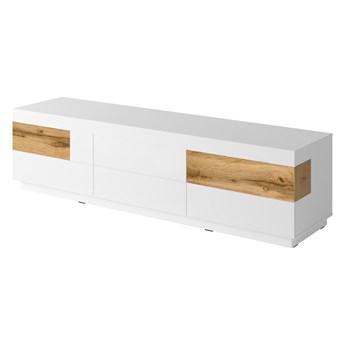 Duża komoda 6SZ SE40 SILKE Biały / Biały połysk - Wotan dąb
