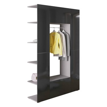 Garderoba CUBE 9 Szary + Czarny połysk