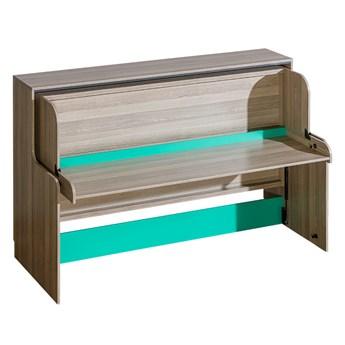 Łóżko modułowe z biurkiem TIMO U16 jesion coimbra / antracyt / zielony
