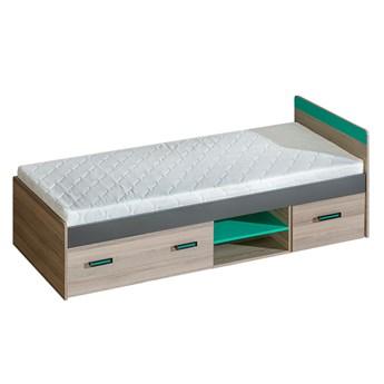 Łóżko TIMO U7 jesion coimbra / antracyt / zielony