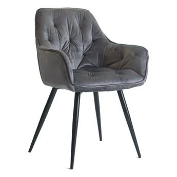 Pikowane welurowe krzesło z podłokietnikami AURORA szare z czarnymi nogami