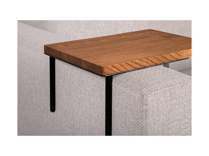 HELPER Stolik boczny do sofy Czekoladowy Kolor Szary Stal Drewno Rozmiar blatu 20x35 cm