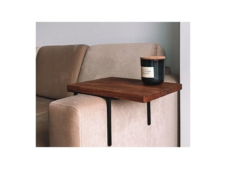 HELPER Stolik boczny do sofy Czekoladowy Drewno Stal Rozmiar blatu 20x35 cm