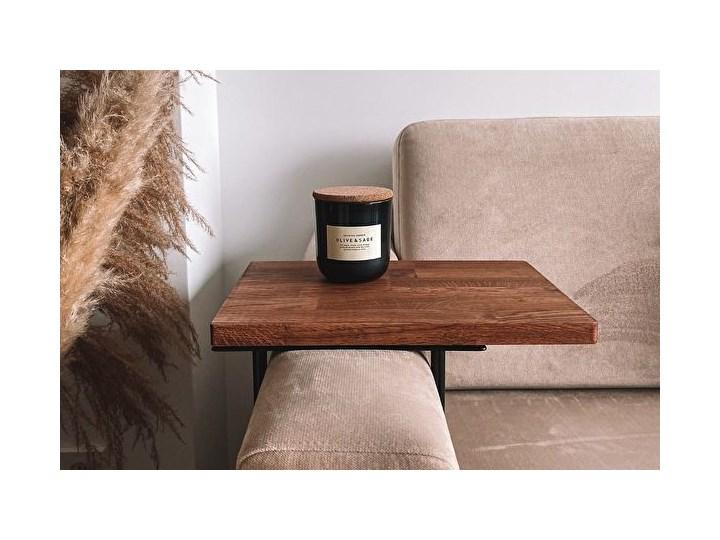 HELPER Stolik boczny do sofy Czekoladowy Kolor Brązowy Stal Drewno Kolor Szary