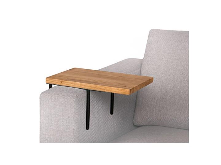 HELPER Stolik boczny do sofy Czekoladowy Stal Drewno Rozmiar blatu 20x35 cm