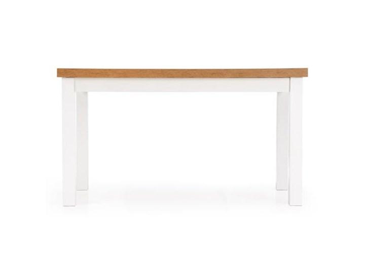 Rozkładany stół do jadalni 140÷220cm biały+dąb lancelot Wysokość 80 cm Długość 80 cm  Szerokość 80 cm Długość 220 cm Płyta MDF Drewno Długość 140 cm  Wysokość 76 cm Styl Minimalistyczny