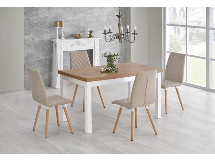 Rozkładany stół do jadalni 140÷220cm biały+dąb lancelot Długość 80 cm  Wysokość 80 cm Szerokość 80 cm Płyta MDF Długość 140 cm  Wysokość 76 cm Drewno Długość 220 cm Pomieszczenie Stoły do jadalni