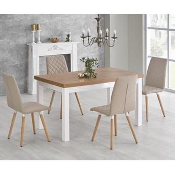 Rozkładany stół do jadalni 140÷220cm biały+dąb lancelot