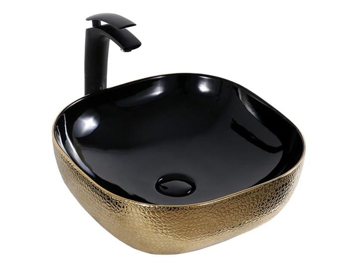VELDMAN UMYWALKA CERAMICZNA ATLANTA CZARNO ZŁOTA SKÓRA WĘŻA Owalne Ceramika Kwadratowe Kolor Czarny Szerokość 43 cm Nablatowe Kolor Złoty