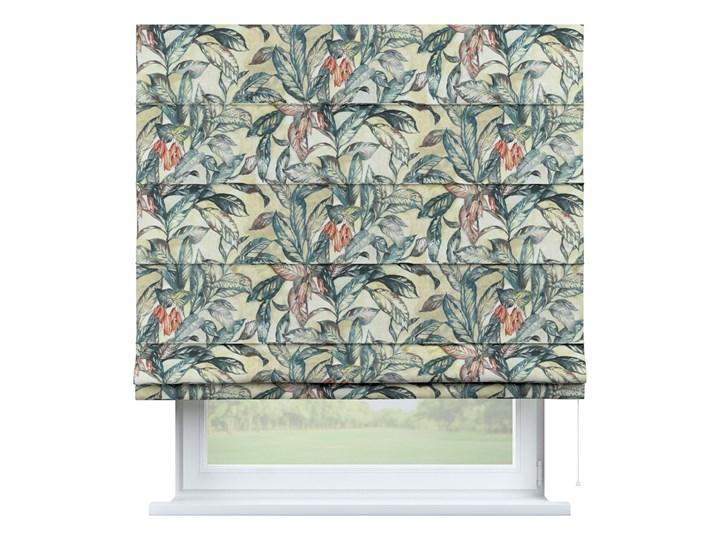 Roleta rzymska Capri, liście w odcieniach zieleni, niebieskiego, czerwieni na beżowym tle, szer.80 × dł.170 cm, Abigail Pomieszczenie Sypialnia Wzór Kwiaty