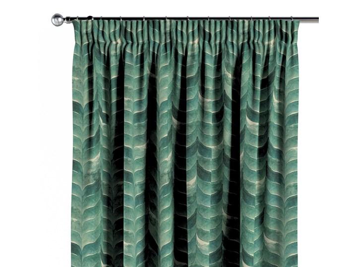 Zasłona na taśmie marszczącej 1 szt., szmaragdowo-zielony wzór na lnianym tle, 1szt 130 × 260 cm, Abigail Bawełna Len Pomieszczenie Sypialnia Zasłona zaciemniająca 130x260 cm Kategoria Zasłony