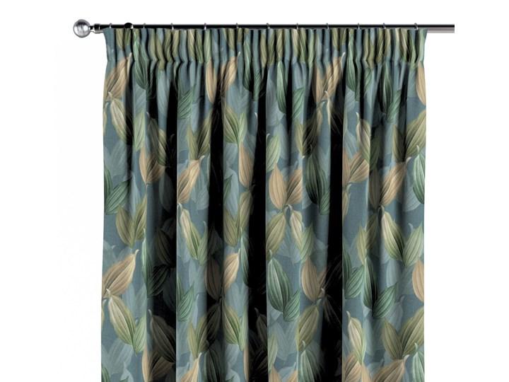 Zasłona na taśmie marszczącej 1 szt., zielone, beżowe liście na niebiesko-zielonym tle, 1szt 130 × 260 cm, Abigail Zasłona zaciemniająca Bawełna 130x260 cm Pomieszczenie Jadalnia