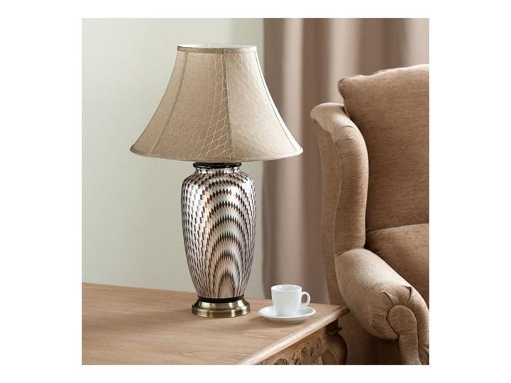 Lampa stołowa Maiko ceramiczna 71cm, 71 cm Kolor Beżowy Lampa z kloszem Kolor Srebrny