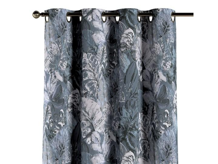 Zasłona na kółkach 1 szt., niebiesko-szare liście na szaro-niebieskim tle, 1szt 130 × 260 cm, Abigail Pomieszczenie Salon Zasłona zaciemniająca Bawełna 130x260 cm Wzór Kwiaty