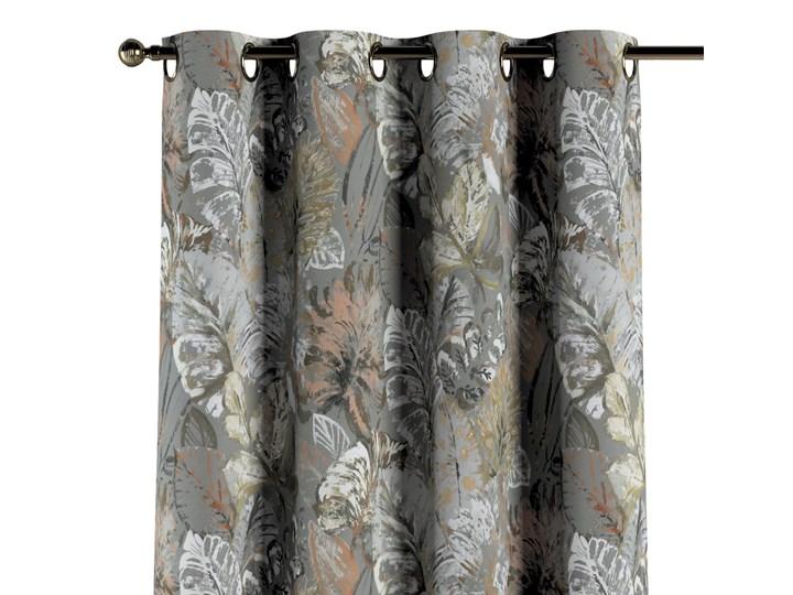Zasłona na kółkach 1 szt., brązowe, beżowe, morelowe kwiaty na szarym tle, 1szt 130 × 260 cm, Abigail Zasłona zaciemniająca 130x260 cm Mocowanie Taśma Bawełna Pomieszczenie Sypialnia