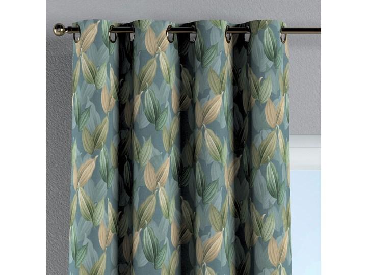 Zasłona na kółkach 1 szt., zielone, beżowe liście na niebiesko-zielonym tle, 1szt 130 × 260 cm, Abigail Zasłona zaciemniająca Bawełna 130x260 cm Pomieszczenie Sypialnia