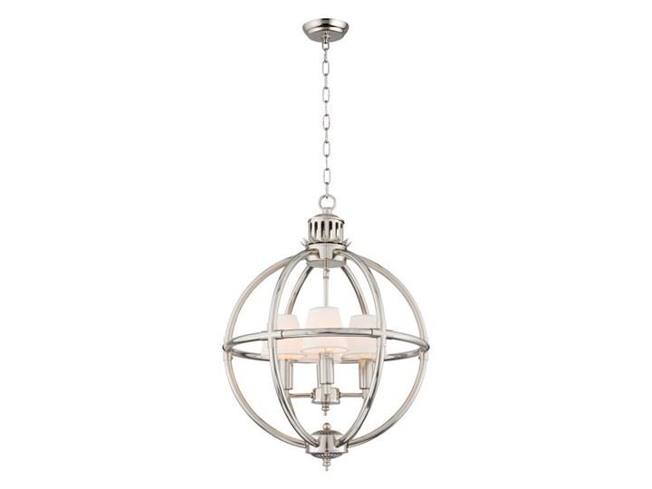 Srebrna lampa wisząca do salonu NEW YORK Lampa z abażurem Tkanina Chrom Metal Kolor Srebrny