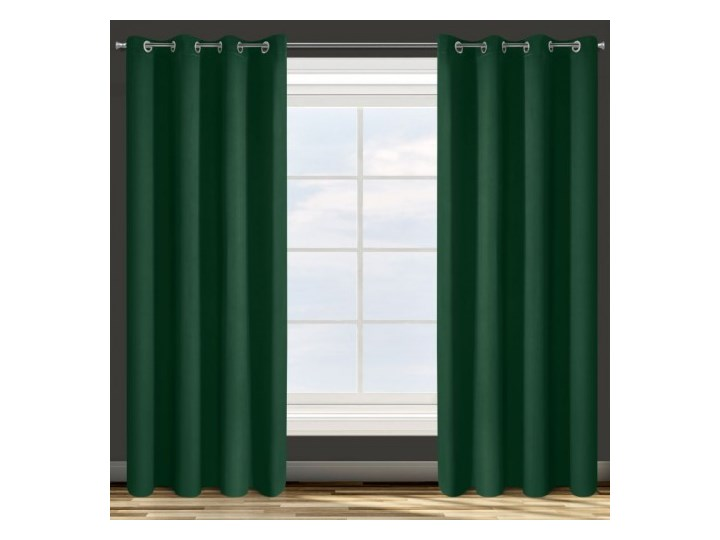 Zasłona z Tkaniny Zaciemniającej Parisa 135x250cm - Ciemny Zielony - Przelotki 135x250 cm Poliester Zasłona zaciemniająca Pomieszczenie Sypialnia