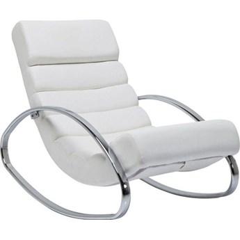 Fotel bujany Manhattan Rocking 62x81 cm biały ekoskóra