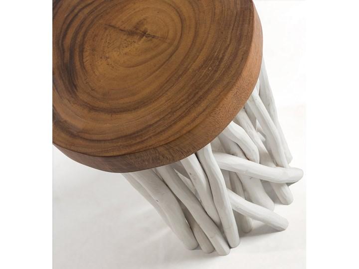 Stolik kawowy Druf Ø35 cm biało-drewniany Kategoria Stoliki i ławy Drewno Kolor Brązowy