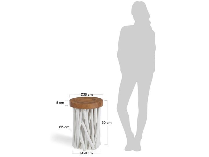 Stolik kawowy Druf Ø35 cm biało-drewniany Drewno Kolor Brązowy