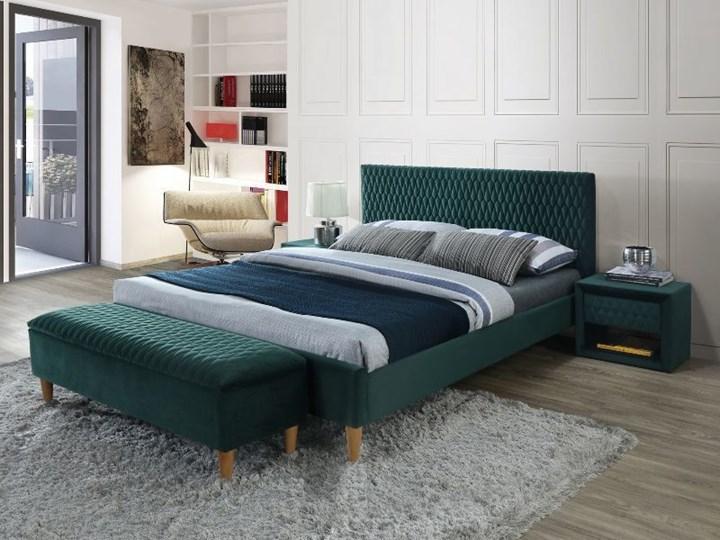 SELSEY Łóżko tapicerowane Nuvea zielone Drewno Tkanina Welur Łóżko pikowane Kolor Zielony