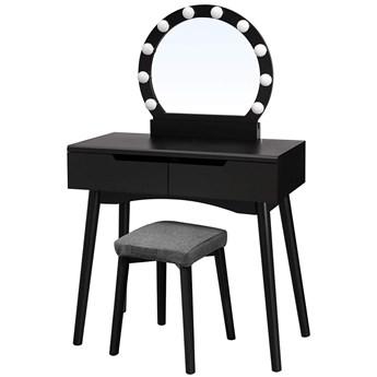 SELSEY Toaletka Gaga czarna z okragłym lustrem i stołkiem z oświetleniem