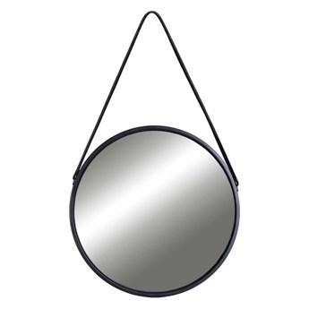 Lustro wiszące okrągłe na pasku 50 cm czarne