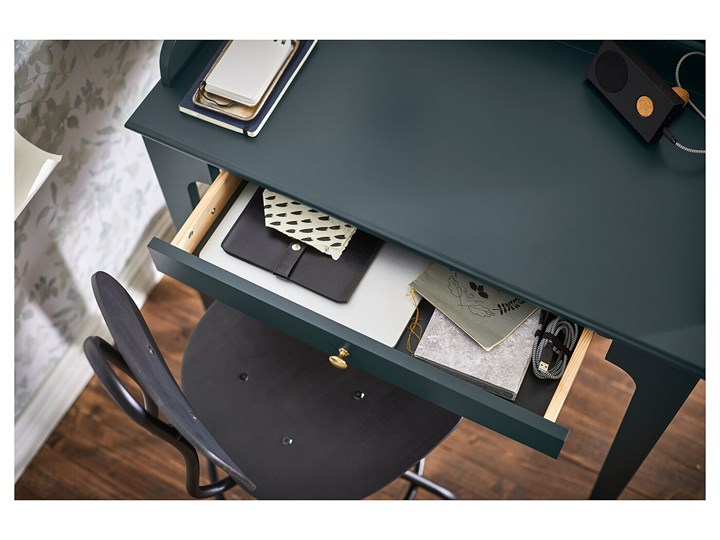 IKEA LOMMARP Biurko, Ciemnoniebieski-zielony, 90x54 cm Szerokość 90 cm Płyta MDF Sekretarzyk Sosna Drewno Kategoria Biurka