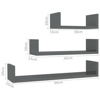 Zestaw szarych półek ściennych z połyskiem - Baffic 3X