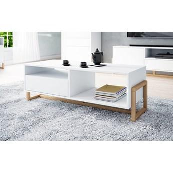 Ława stolik kawowy do salonu Oslo biały/buk naturalny - Meb24.pl