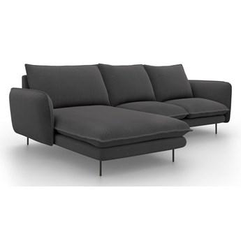 Ciemnoszara sofa narożna Cosmopolitan Design Vienna, lewostronna