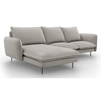 Jasnoszara sofa narożna Cosmopolitan Design Vienna, lewostronna