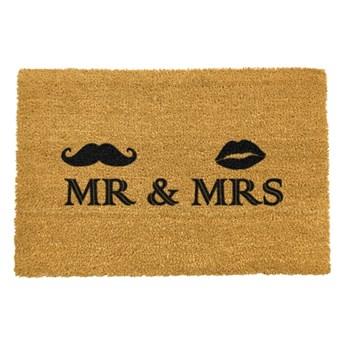 Wycieraczka z naturalnego kokosowego włókna Artsy Doormats Mr and Mrs, 40x60 cm