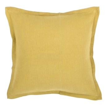 Żółta poduszka z domieszką lnu Tiseco Home Studio, 45x45 cm