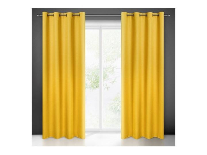 Prosta Zasłona Style 140x250cm - Musztardowy - Przelotki Kolor Żółty 140x250 cm Poliester Wzór Nadruk