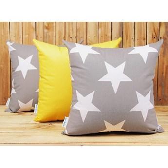 Zestaw 3 poszewek dekoracyjnych bawełnianych Gwiazdy + żółty 40x40