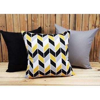 Zestaw 3 poszewek bawełnianych Geometric Yellow + szary + czarny