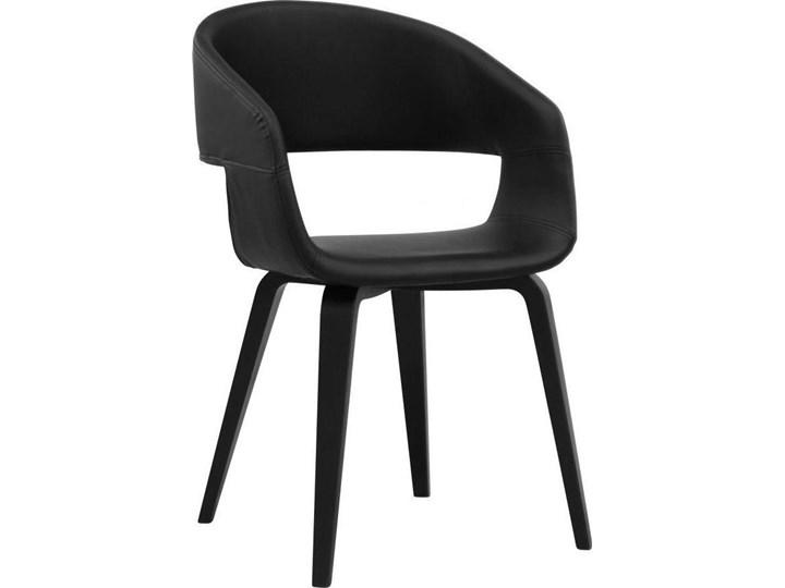 Krzesło Nova 51x78 cm czarne ekoskóra nogi fornir topola/brzoza Skóra ekologiczna Drewno Kolor Czarny