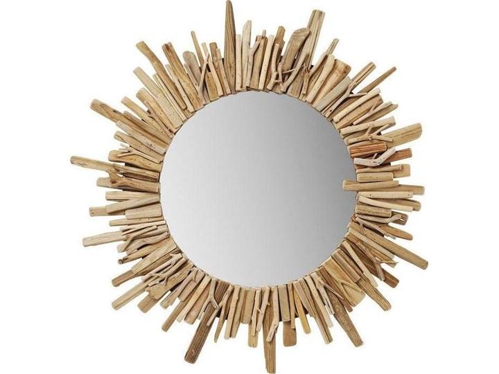Lustro wiszące Legno ∅82 cm drewniane Okrągłe Ścienne Lustro z ramą Nieregularne Pomieszczenie Sypialnia Styl Nowoczesny