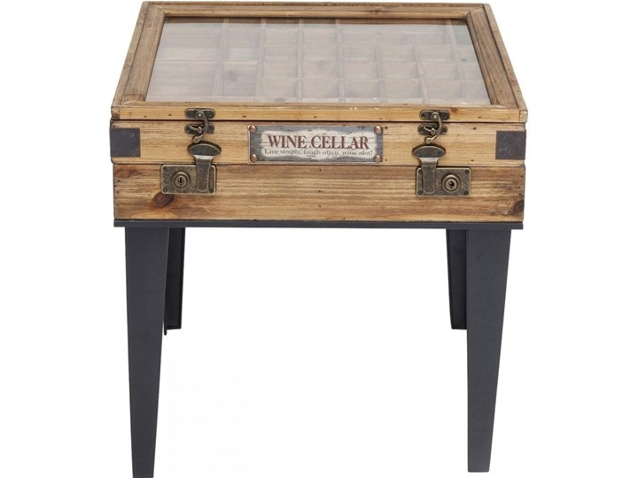 Stolik kawowy Collector 55x55 cm drewniany Szkło Drewno Płyta meblowa Stal Styl Industrialny